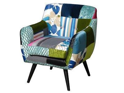 WestWood Luxury Patchwork Chair – Vintage Armchair Retro Fabric Tub Seat PC029