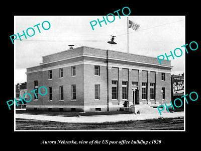 OLD LARGE HISTORIC PHOTO OF AURORA NEBRASKA, US POST OFFICE BUILDING - Aurora Large Post