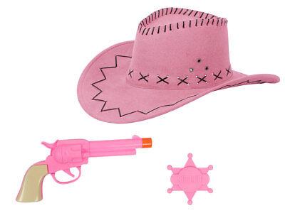 KV-64 Cowgirl Outfit Kostüm JGA Cowboyhut Pistole pink Sheriffstern (Western Kostüme Accessoires)