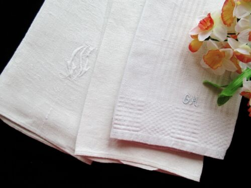 Set of Three Heavy Antique European Linen Towels - White, Sturdy, Lovely!