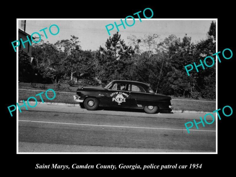 OLD POSTCARD SIZE PHOTO OF SAINT MARYS GEORGIA THE POLICE DEPARTMENT CAR 1954