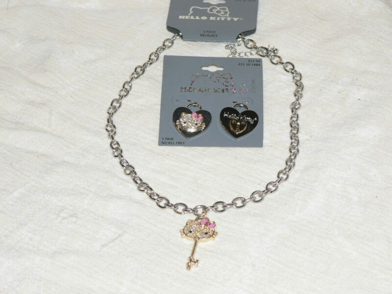 """NEW on Cards Hello Kitty Key Necklace Matching Earrings Rhinestone 18"""" + 3"""" Ext."""