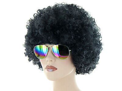 nky Outfit (Kv-195) Afro Perücke Schwarz Sonnenbrille Bunt (Funky Perücken)