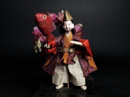 Antique EBISU God of Fortune Japanese NINGYO GOFUN Salmon Fishing