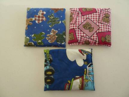 3 x Kids Throwing / Catching Fabric Beanbags. Approx 14x14cm.