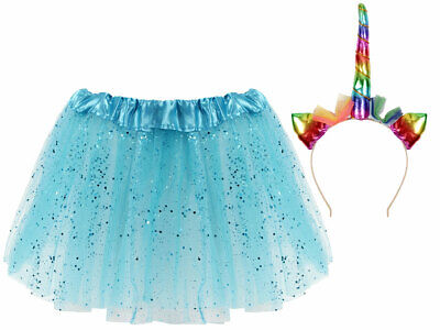 Prinzessinen Kostüm Mädchen (Kv-189) Einhorn Haarreif, Tüllrock-Blau Glitzer - Blaue Haare Mädchen Kostüm