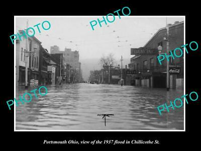 OLD 6 X 4 HISTORIC PHOTO OF PORTSMOUTH OHIO, FLOOD WATERS IN MAIN STREET c1937