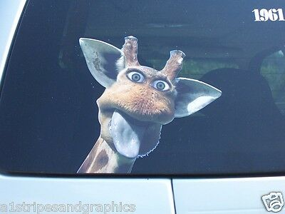 Peaking funny giraffe Full color Graphic Window Decal Sticker Decals Stickers