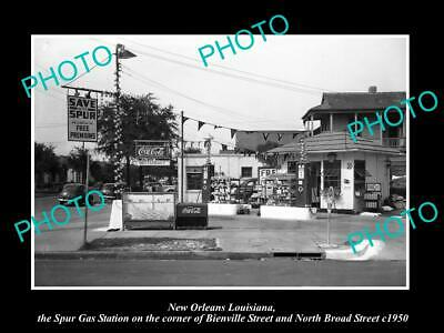 OLD 6 X 4 HISTORIC PHOTO OF NEW ORLEANS LOUISIANA, THE SPUR GAS STATION c1950
