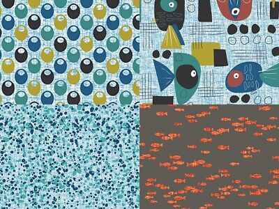 Fish Hope Collection Bubbles Nest Novelty Quilting Cotton Masks Fabric PBS Funky