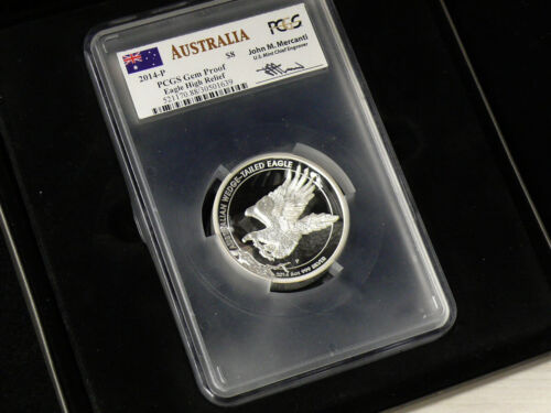 2014-P PCGS GEM PROOF $8 MERCANTI SIGNED 5 OUNCE HIGH RELIEF Wedge Tailed Eagle