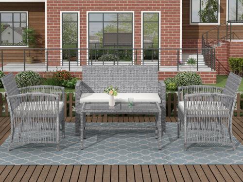 Garden Furniture - 4pcs Outdoor Furniture Rattan Chair & Table Patio Set Outdoor Sofa for Garden