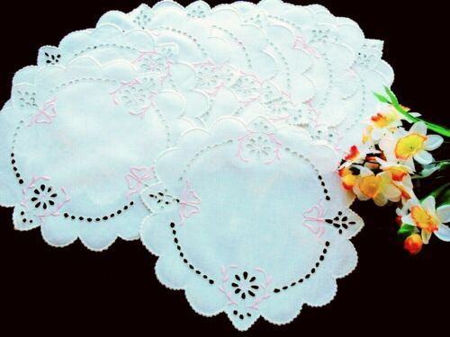 """Set of 10 Antique PINK WHITE Hand-Embroidered Eyelet Dessert Doilies10"""" MADEIRA"""
