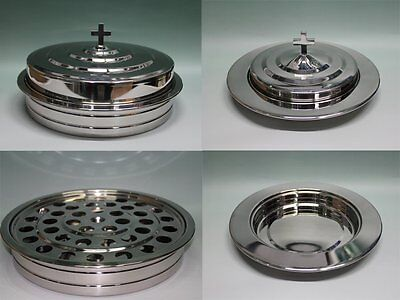 Silvertone--Stainless Steel Communion Tray set and Bread Tray set