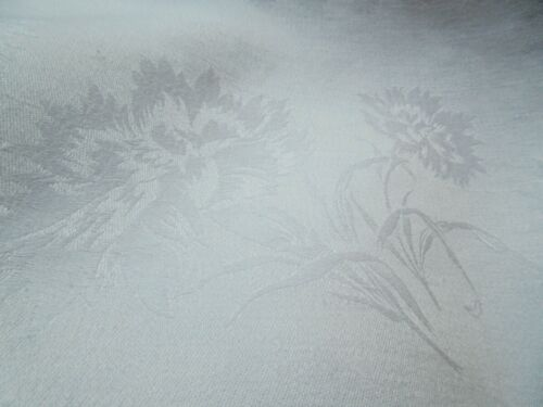 Antique White Irish Linen Banquet Tablecloth Elegant Damask Carnations 104 X 72
