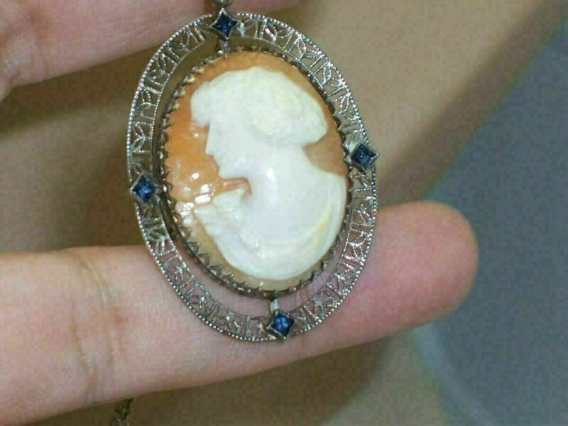 "Large 1 3/4"" X 1 1/4"" Art Deco Filigree Cameo Sapphire Blue Princess Cut Stones"