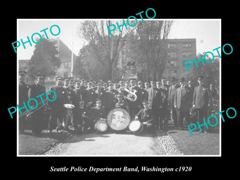 OLD 8x6 HISTORIC PHOTO OF SEATTLE POLICE DEPARTMENT BRASS BAND WASHINGTON 1920