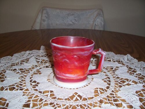 IMPERIAL RED SLAG GLASS MUG WITH BIRDS