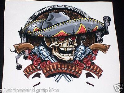 """LARGE Tribal sombrero Skull Rebel 25"""" x 26"""" HOOD Decal Decals Trailer Skulls"""