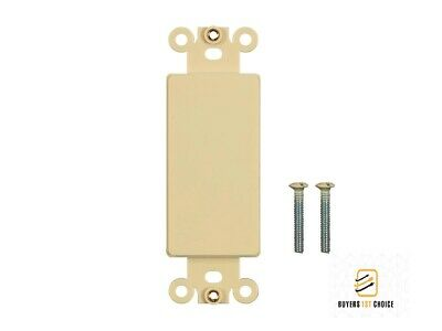 1-Gang Blank Decora Filler Insert Wall Plate Cover Plastic Smooth Ivory Decora Insert Plate