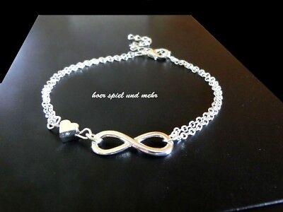 Damen Infinity Armkette Farbe Silber Armband Eternity Unendlichkeit Herz Partner