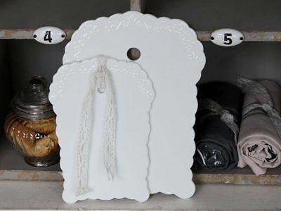 Schneidebrett klein 'Provence' Porzellan weiß Vintage Shabby Chic Antique ()