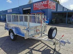 Galvanised 8x5ft Trailer w/Brakes, Winch, Spare Tyre and 600mm Cage Wingfield Port Adelaide Area Preview