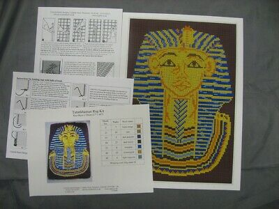 Tutankhamun Latch Hook Rug Kit, a Readicut design in pure wool with colour chart Latch Hook Hooking Rugs Charts
