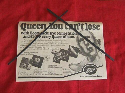 QUEEN 1978 ORIGINAL VINTAGE ADVERT BOOTS COMPETITION FREDDIE MERCURY