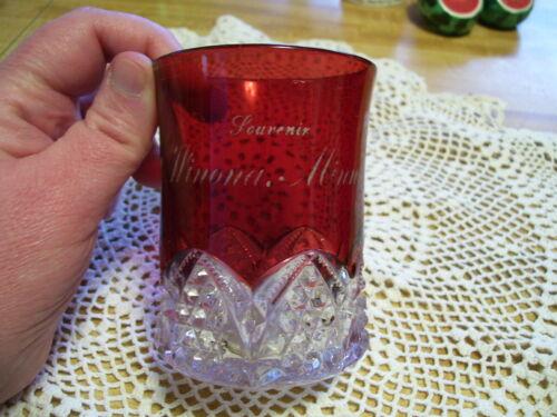 (R) Vintage EAPG Ruby Red Winona MN Minnesota Souvenir Cup