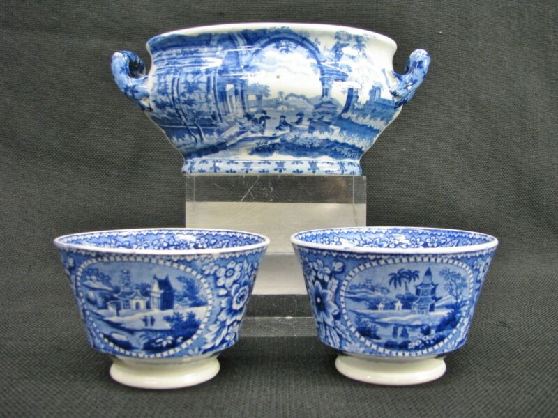 3 Pc. of Early 19th Century English Blue & White Transferware; 1815 Chinoiserie