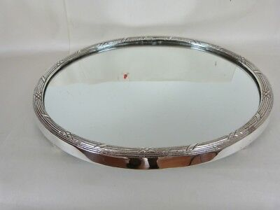 Reed Oval Ribbon ( REED & RIBBON BORDER FOOTED OVAL MIRRORED TABLE PLATEAU LAKE 15