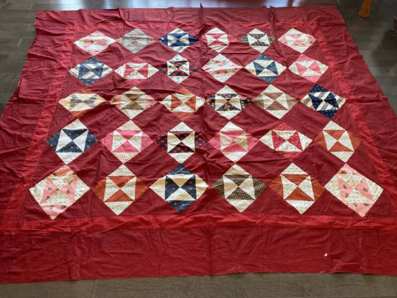 Antique Quilt Top Broken Dishes Late 1800