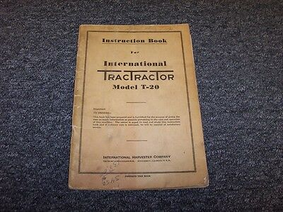 International Harvester Ih T20 Track Crawler Owner Operator Instruction Manual