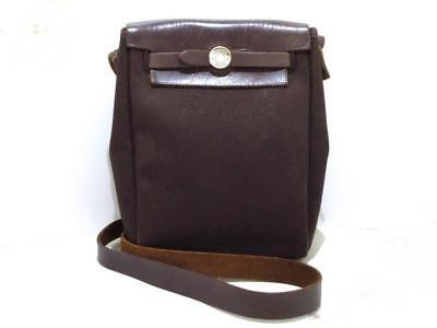 9dffcfd456d2 HERMES Her Bag TPM Brown Beige Toile Officier Leather Shoulder Bag Used