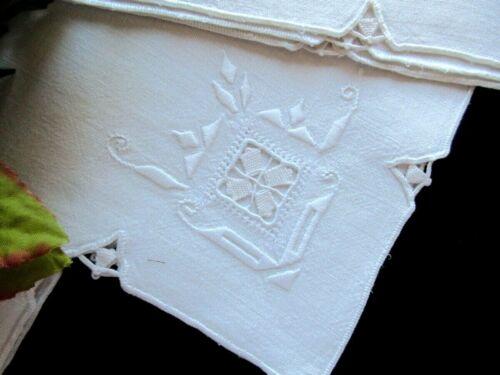 THREE Antique Italian Cream Linen Embroidered Napkins Handmade Needle Lace