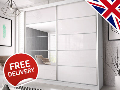Sliding Wardrobe Doors DIY High Gloss Mirrored 950mm x 2000mm | Track and Rail