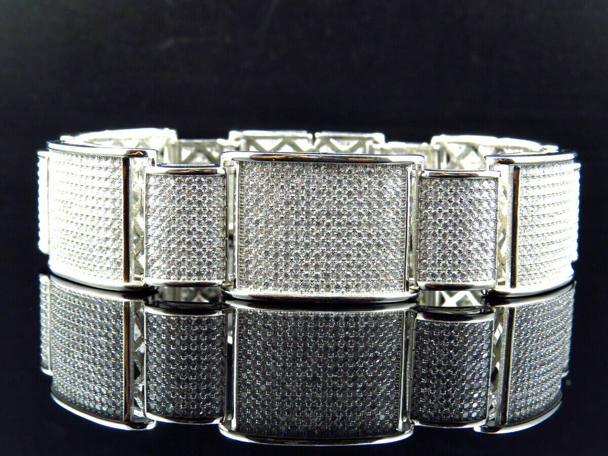 15Ct Round Cut Diamond 14K White Gold Over Men's Exclusive Link Bracelet