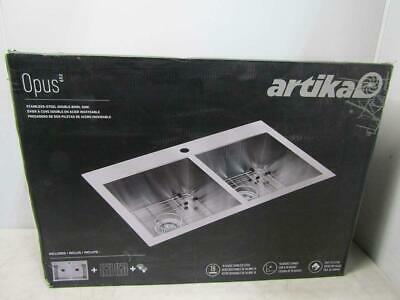 Artika Opus Double Bowl Kitchen Sink Silver SQ220GS18-CCA