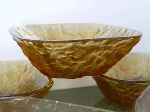 Textured Amber Glass Bowls Pelican Waters Caloundra Area Preview