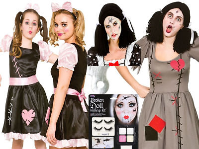 Zombie Rag Doll Adult Womens Childs Girls Make Up Halloween Fancy Dress Costume ()