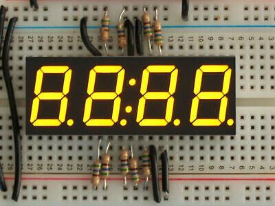 3dmakerworld Adafruit Yellow 7-segment Clock Display - 0.56 Digit Height