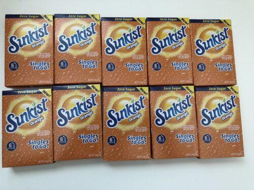 Sunkist ORANGE Singles To Go Drink Mix Zero Sugar 10 Boxes (60 Packets) NEW