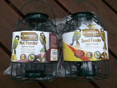 2 Caged Nut & Seed Feeders. Squirrel Pigeon & Large Bird Proof Peanut wild food