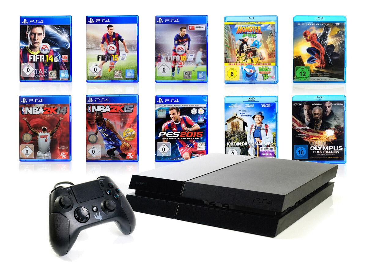 (R) Sony PS4 Konsole - 500GB - SCHWARZ Bundle + Controller Gator Claw Mangel