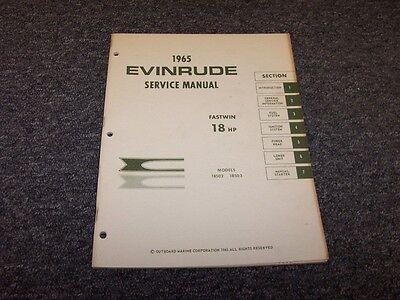 1965 Evinrude 18 HP Fastwin Outboard Motor Shop Service Repair Manual Guide Book