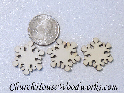 Christmas Ornament Shapes (50 SMALL Snowflake Wood Christmas Ornament Supplies, wooden snowflake shapes)
