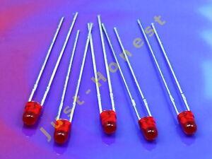 Stk. 5x LED 3mm 12V Rot /Red - !! KEINEN WIDERSTAND MEHR !!- Rund / Round  #A472