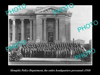OLD POSTCARD SIZE PHOTO OF MEMPHIS TENNESSEE THE POLICE HEADQUARTERS STAFF 1940