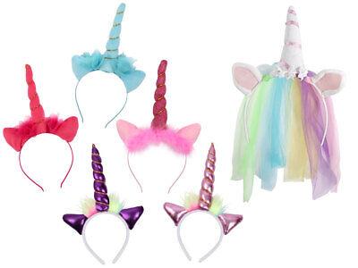 Einhorn Haarreif Horn Schweif Kostüm Karneval JGA Unicorn Ohren Perücke Hut